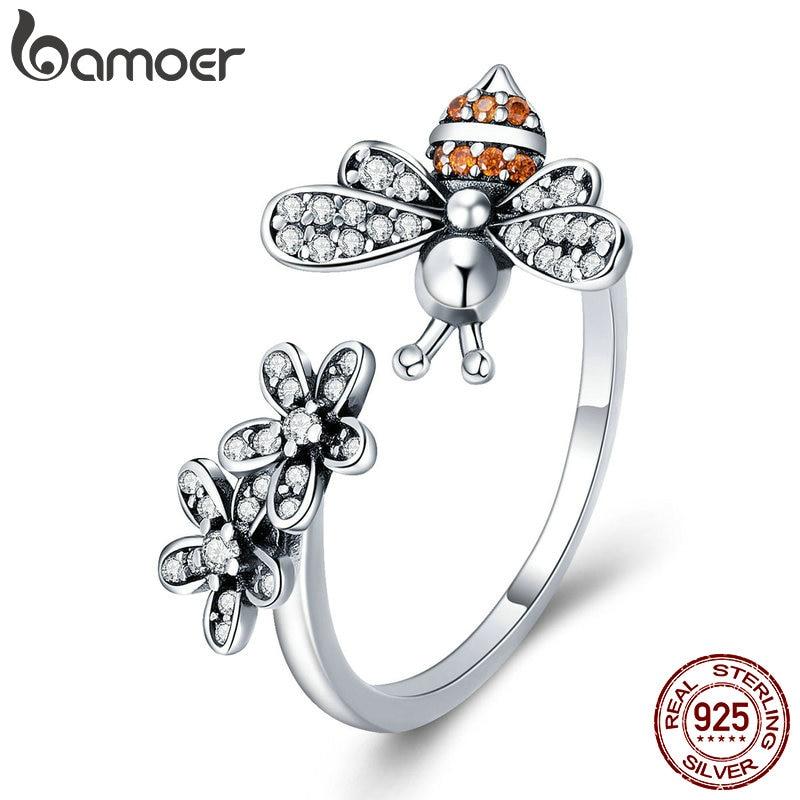 BAMOER 100 925 Sterling Silver Trendy Bee Daisy Flower Finger Rings for Women Adjustable Size Valentine Innrech Market.com