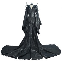 High Quality Custom Made Dark Witch Maleficent Adult Women Halloween Party Cosplay Costume Maleficent Dress