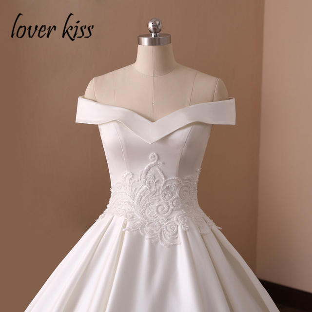 Princess Satin Off The Shoulder Wedding Dresses Ball Gown Lace Pearls Real Photos Bridal Gowns 2019