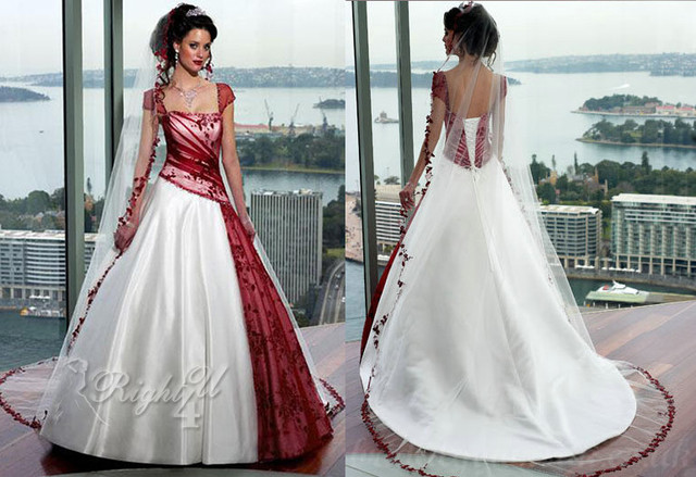 CC1002 6 Indian Modern Applique Bodice Organza Ball Gown Floor Length Beautiful Red Wedding Dresses With Sleeves
