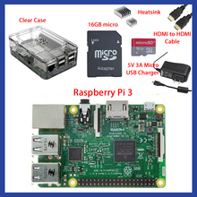 Cheapest prices With Retail Box Complete Starter Kit Clear Case 16GB with Noobs Heatsink Edition for  Raspberry Pi 3