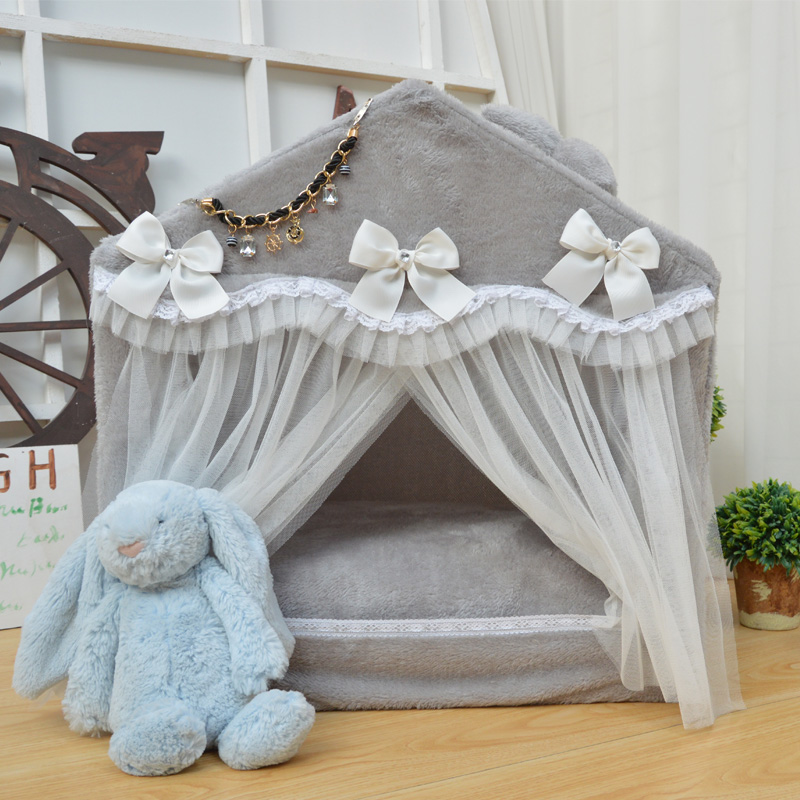 2018 Pet supplies new fashion Korean pet dog bed portable house foldable house lace pet  ...