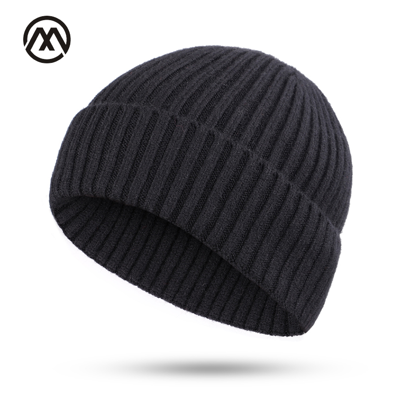Winter Men's Knitted Cotton Caps Solid Color New Fashion Ski Warm Comfortable Unisex Thick male hats turban slouchy   beanie   bone