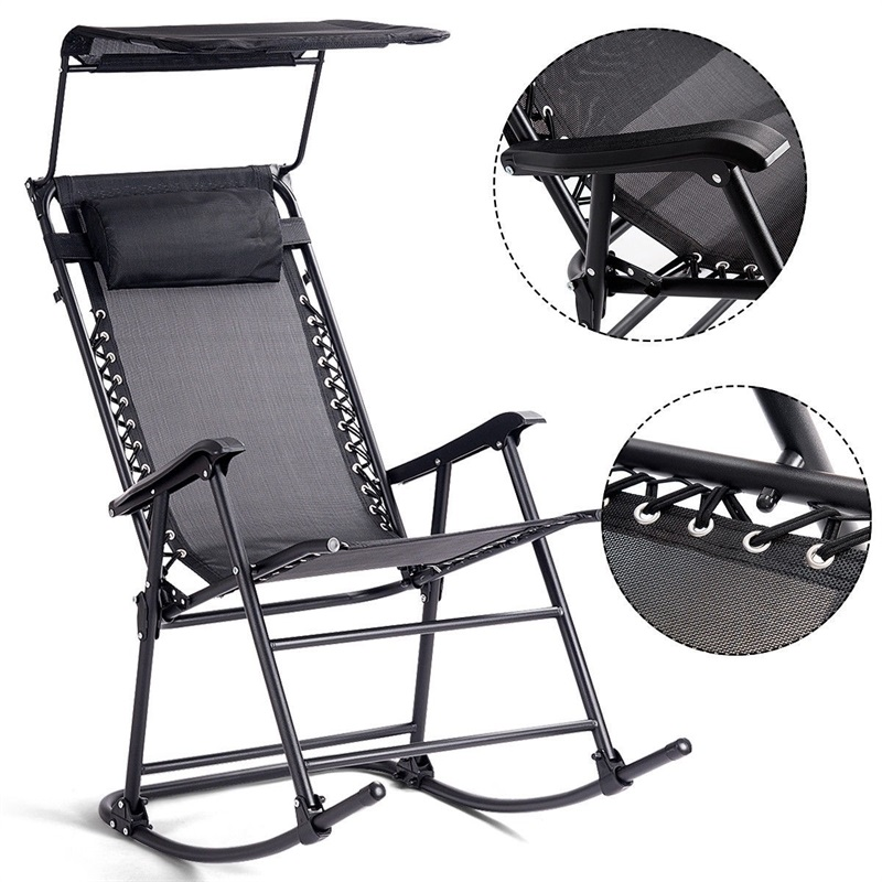 Us 72 09 45 Off Zero Gravity Folding Rocker Porch Rocking Chair Solid Steel Construction Sunshade Canopy Garden Weather Resistant Fabric In