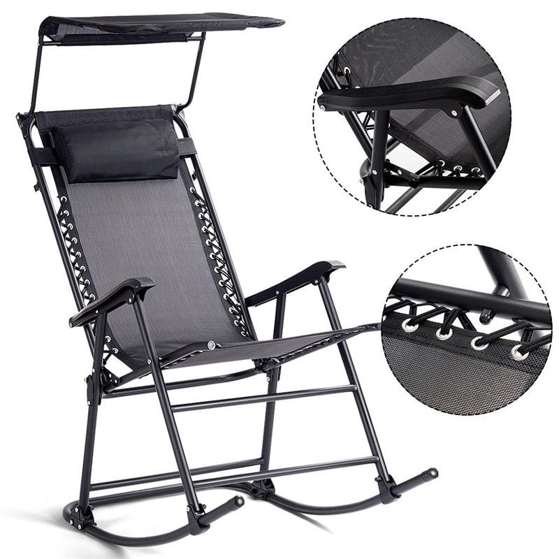 Zero Gravity Folding Rocker Porch Rocking Chair Solid Steel Construction Sunshade Canopy Garden Chair Weather Resistant Fabric