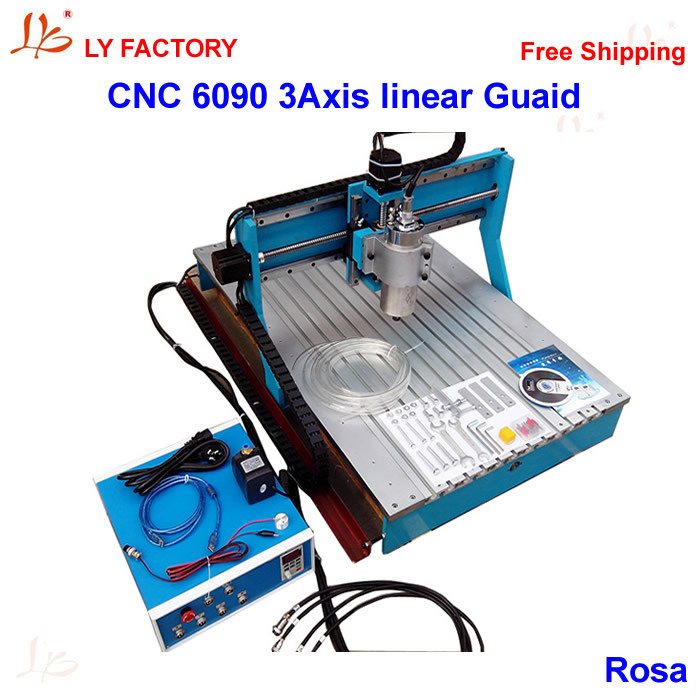 New Model 6090 CNC Router Machine 3 axis 1.5KW Water-Cooled Spindle with Linear Guide Rail cnc 4th axis 6090 model