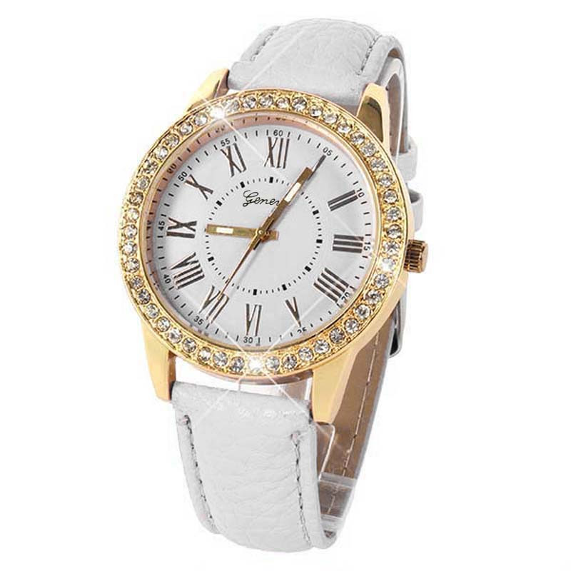 2019 Bling Gold Crystal Womens Luxury Leather Strap Quartz Wrist Watch New Fashion Graceful Rhinstones Girls Bracelet Clock A602019 Bling Gold Crystal Womens Luxury Leather Strap Quartz Wrist Watch New Fashion Graceful Rhinstones Girls Bracelet Clock A60