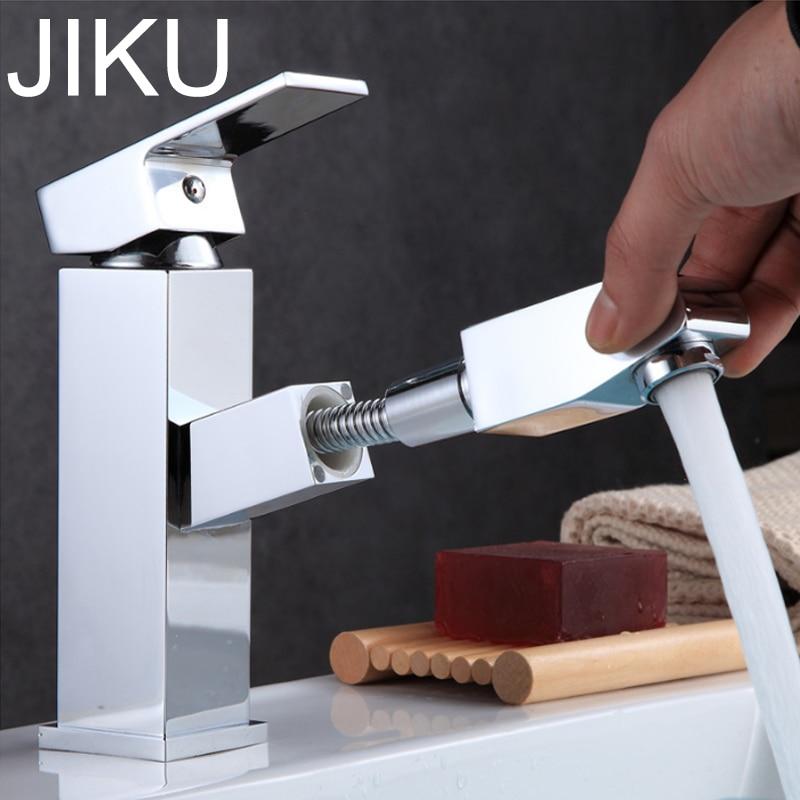 JIKU кухонный кран для ванной комнаты смеситель с одной ручкой на одно отверстие Смеситель кран на бортике кран горячей и холодной воды раковина латунный кран-in Смесители для бассейна from Товары для дома on AliExpress