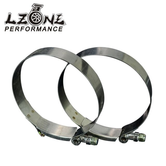 LZONE RACING - (2PC/LOT) 4 CLAMPS (105-113)STAINLESS 304 SILICONE TURBO HOSE COUPLER T BOLT CLAMP KIT HIGH QUALITY JR5258
