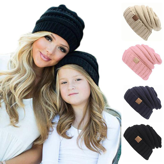 3b850179e21 Winter Warm Mom Baby Kids Hat Solid Color Crochet Knit Cap Unisex Folds  Casual Labeling Beanies