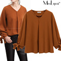 XXXL 4XL 5XL Plus Size Women Chiffon Blouse 2017 Spring European Style Fashion Solid Color V-neck Bow Ribbon Long Sleeve Tops