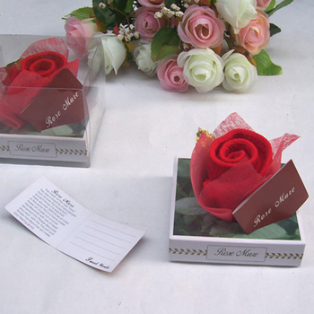 30pcs/lot Wedding Gifts For Guests Sweety Rose Flower Cake Towel For Party Supply Valentine's Day Favor