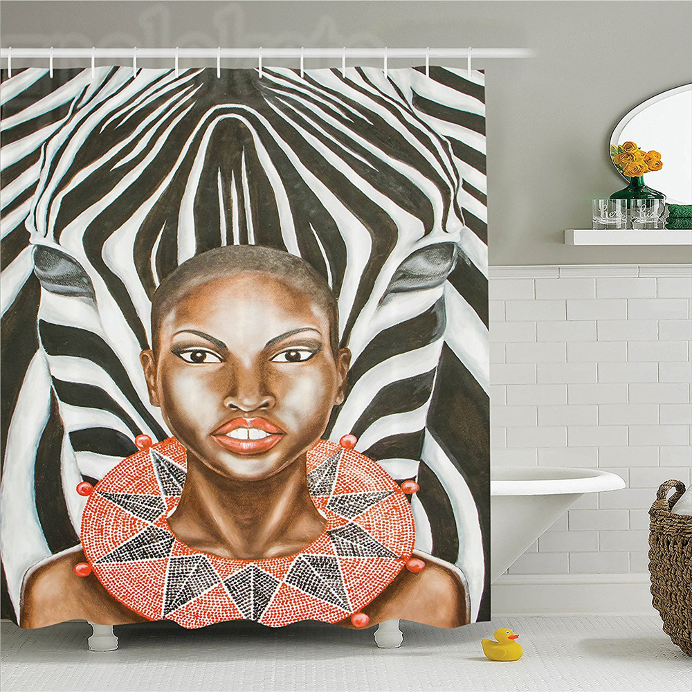 Country African Woman with Zebra Spirit Animal Mother Nature Themed Artistic Image Polyester Bathroom Shower Curtain Set with image