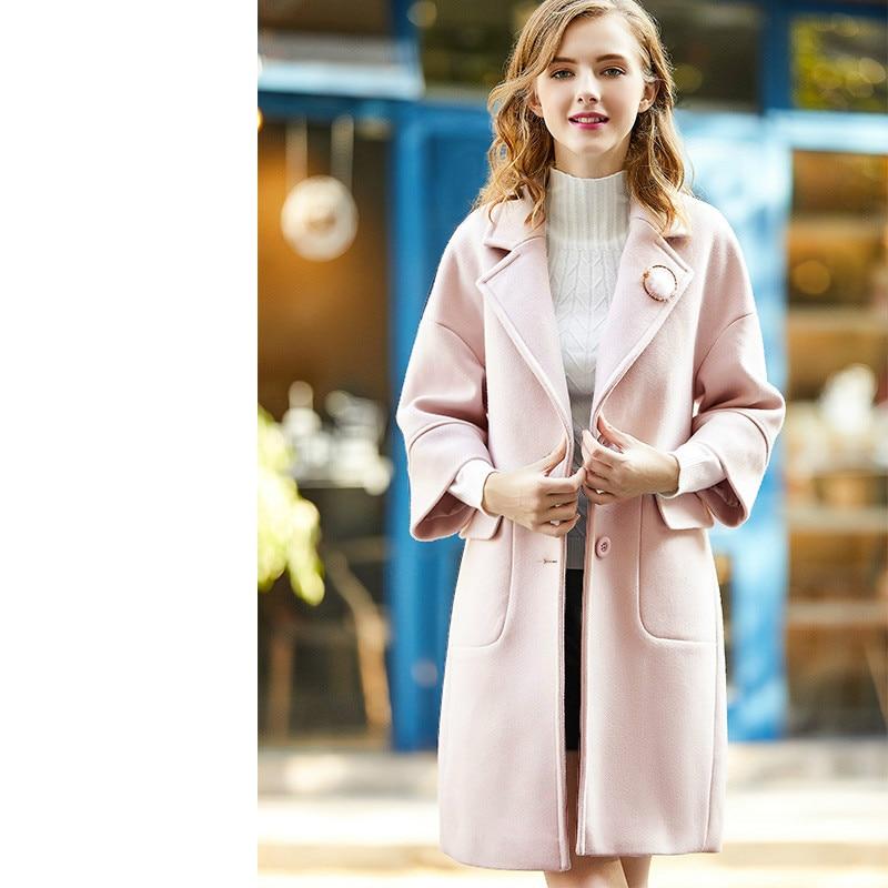 red Dames Ayunsue S Laine Bean Kj749 Manteau Hiver Manteaux Rose Mélange Pink De apricot Pink Automne Femmes Apricot Veste Femme Long CUCxrwB7