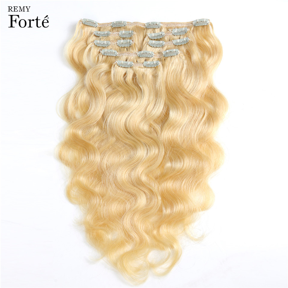 Remy Forte Clip In Human Hair Extensions Body Wave Bundles Human Hair Clip In Extensions 613 Blonde  Bundles 7 Pcs Hair Clip Ins(China)