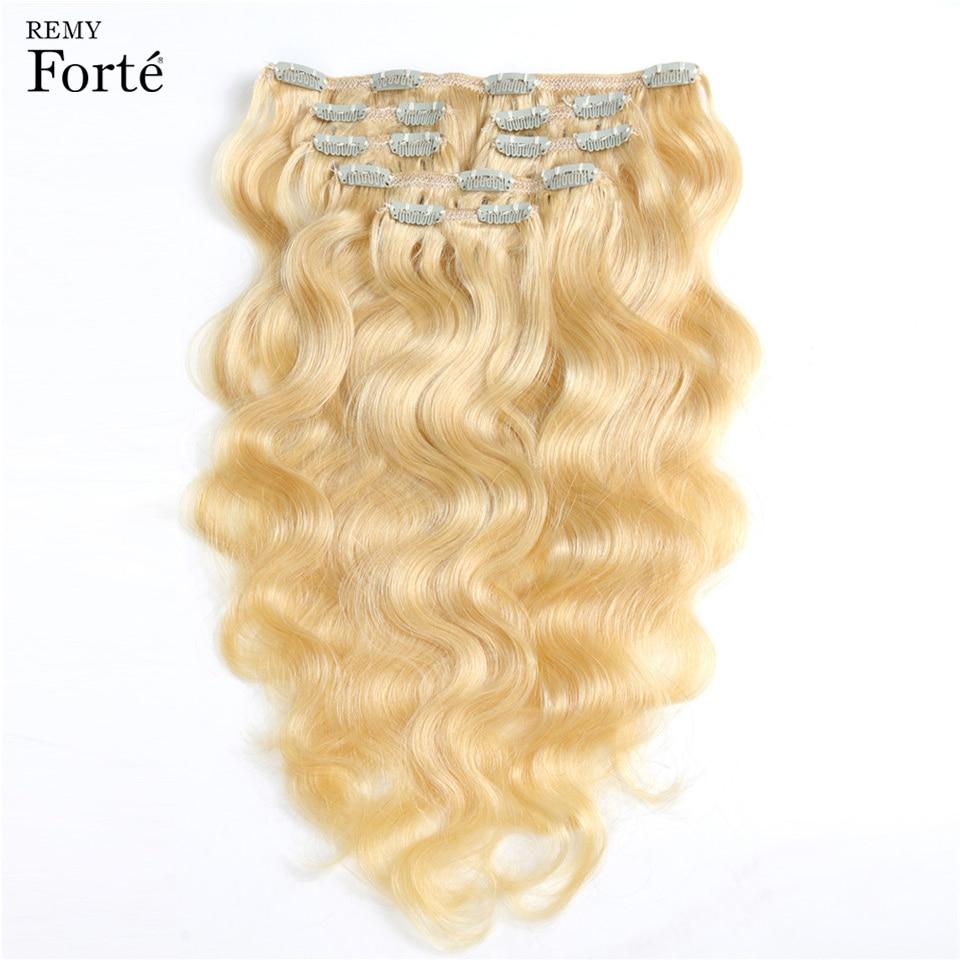 Remy Forte Clip Dans Les Extensions De Cheveux Humains Faisceaux De Vague De Corps De Cheveux Humains Clip Dans Les Extensions 613 Blonde Faisceaux 7 pièces Pince À Cheveux