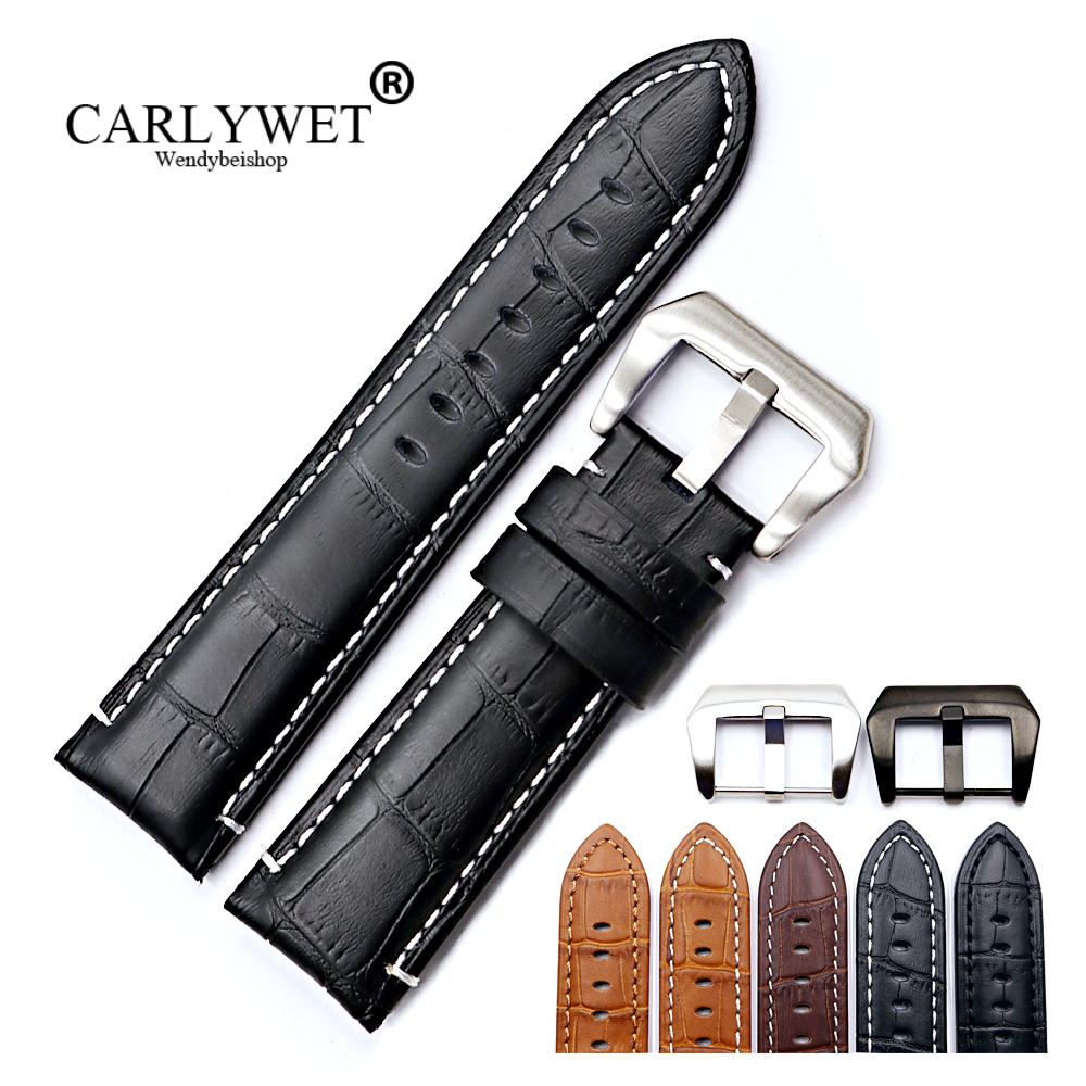 CARLYWET 22 24mm VINTAGE Black Brown Watch Band Genuine Calf Leather Crocodile Grain Thick Strap Belt Silver Clasp