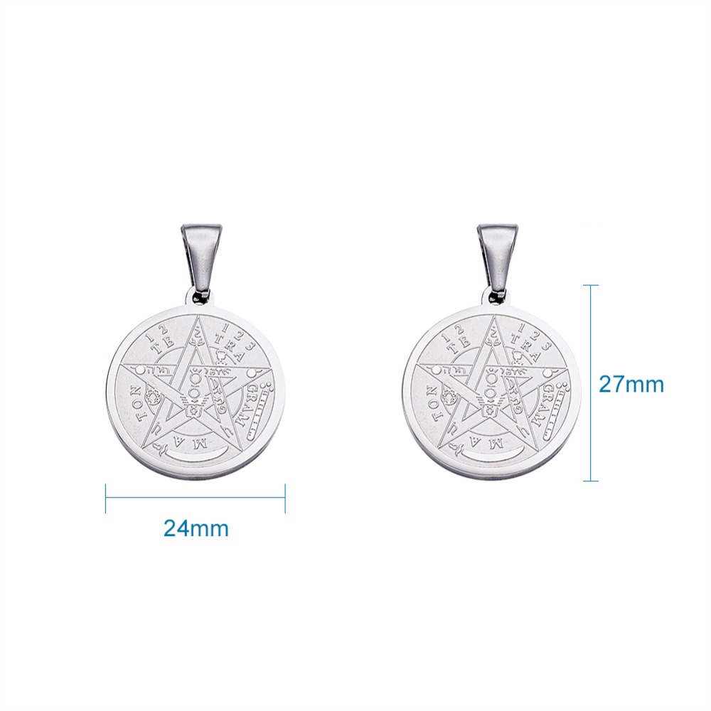 Image 5 - 10pc Religion Vintage 304 Stainless Steel Flat Round Carved Tetragrammaton Necklace Jewelry Findings Pentagram Pendant 27x24x2mm-in Pendants from Jewelry & Accessories