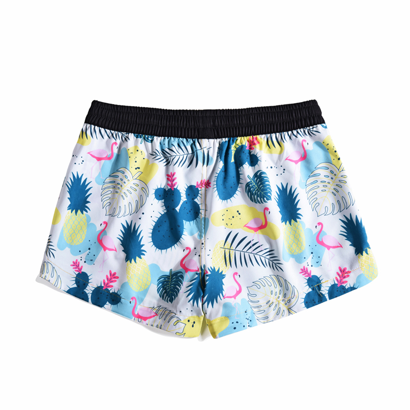 Summer Quick-drying Shorts Beach Womens Tropical Plants and Flamingos Printed Drawstring Elastic Tape Loose Board Shorts Bermuda