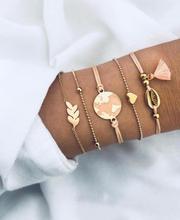 5pcs/set Bohemian Shell Bracelet Earth Love Leaf Tassel Charm Bracelets Set Women Multilayer Chain Rope Jewelry Gifts