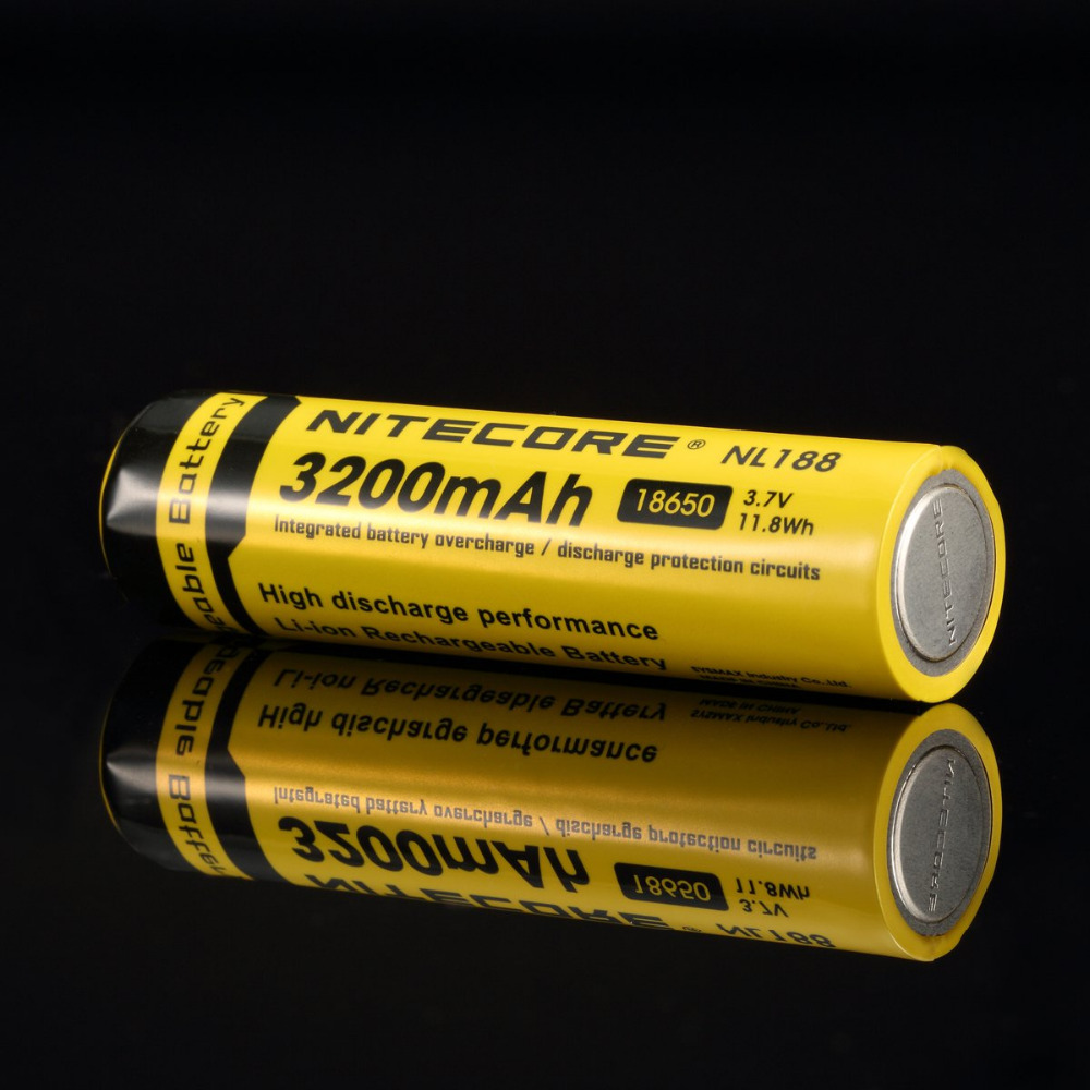 1pcs Nitecore NL188 3200mah Flashlight Accessory Li Ion 18650 Rechargeable Battery 3.7V with CE UL ROHS certification