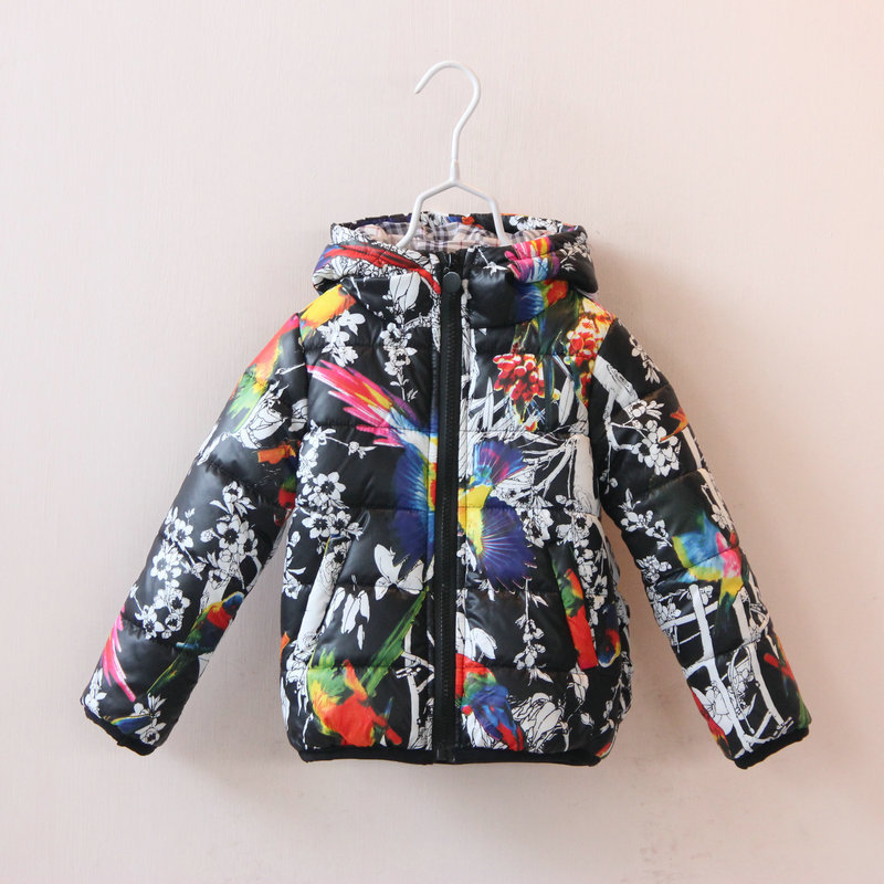 3b299b628 Boy Winter Coat Cotton Padded Floral Print Girls Sweet Outerwear Girl Coat  Boys Jackets White Black-in Down & Parkas from Mother & Kids on  Aliexpress.com ...