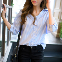 Women Blouses 2017 Summer Navy Style Straight Striped Top Casual Fashion V-neck three quarter sleeve Shirt plus size blusas