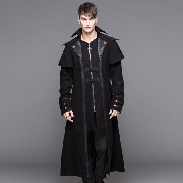 2016 Outono Inverno Novo Casaco de Lã Dos Homens Do Punk de Alta Qualidade Longo macho Moda Casual Do Punk Gótico Homens Jaqueta Corta-vento Poeira casaco