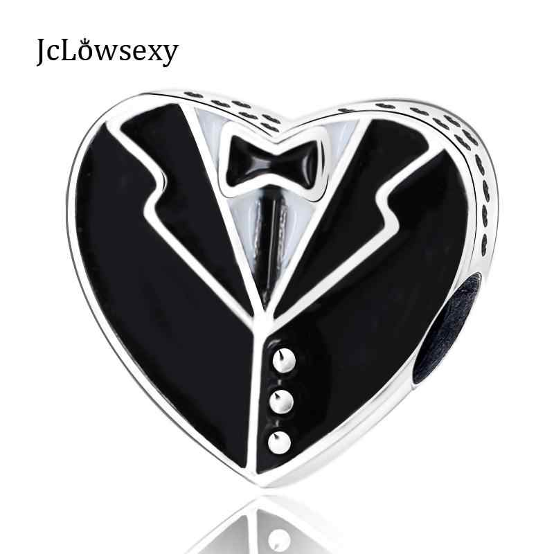 أصيلة 925 الاسترليني خرز فضي جنتلمان Gentlewoman مزدوجة الجانبين القلب سحر صالح أساور لتقوم بها بنفسك حُليات المجوهرات