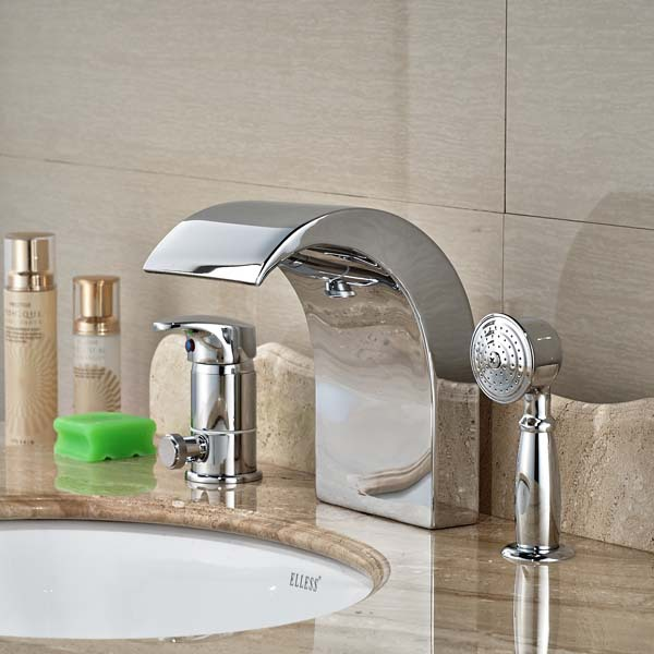 Wholesale And Retail Deck Mounted Chrome Brass Waterfall Spout Bathroom Tub Faucet with Hand Sprayer wholesale and retail brushed nickel waterfall spout bath tub faucet deck mounted three handles bathroom tub faucet set