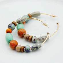 FishSheep Za богемные красочные деревянные серьги-кольца для женщин винтажные печатные деревянные бусины большой круг серьга в виде кольца для женщин