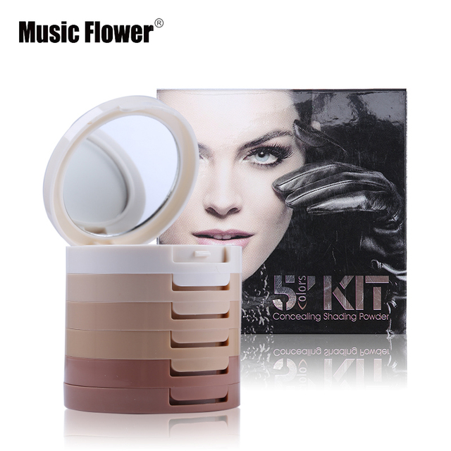 Music Flower Brand 5 Colors Pressed Powder Palette Foundation Base Makeup Make Up Kit Concealing Shading Cosmetics
