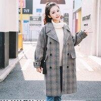 3e7f25af0 Autumn And Winter New Fashion Woolen Coat 2019 Women Long Section Retro  Check Coat Jacket Double. Outono E Inverno Nova Moda Casaco De Lã 2019  Mulheres ...