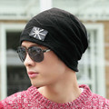 New 2016 Autumn Winter Young Men's Soft Fleece Lined Thick Knit Skull Cap Warm Winter Daily Slouchy Beanies Hat With UK Flag