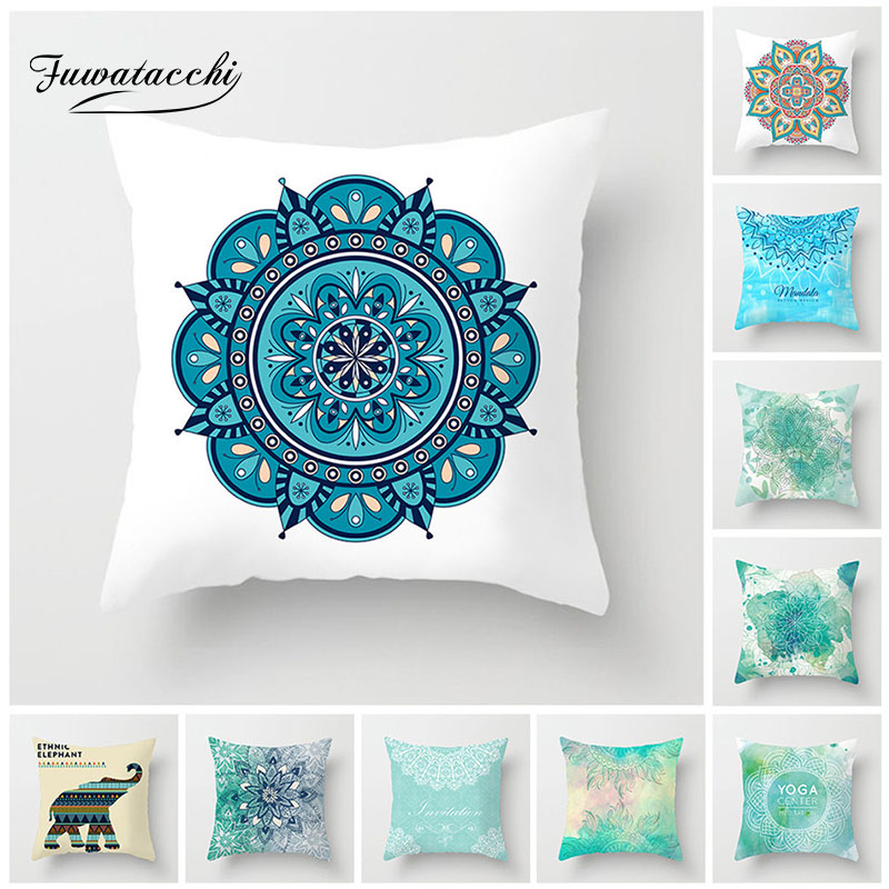 Fuwatacchi  Ethnic Style Cushion Cover Colorful Mandala Elephant Pillow Case Home Decorative White Pillows Cover For Sofa Seat