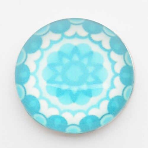 Flor azul botones a presión de 18mm, impresión y cubierta de cristal broches para broches pulseras para broches de jengibre broches joyería NC1750