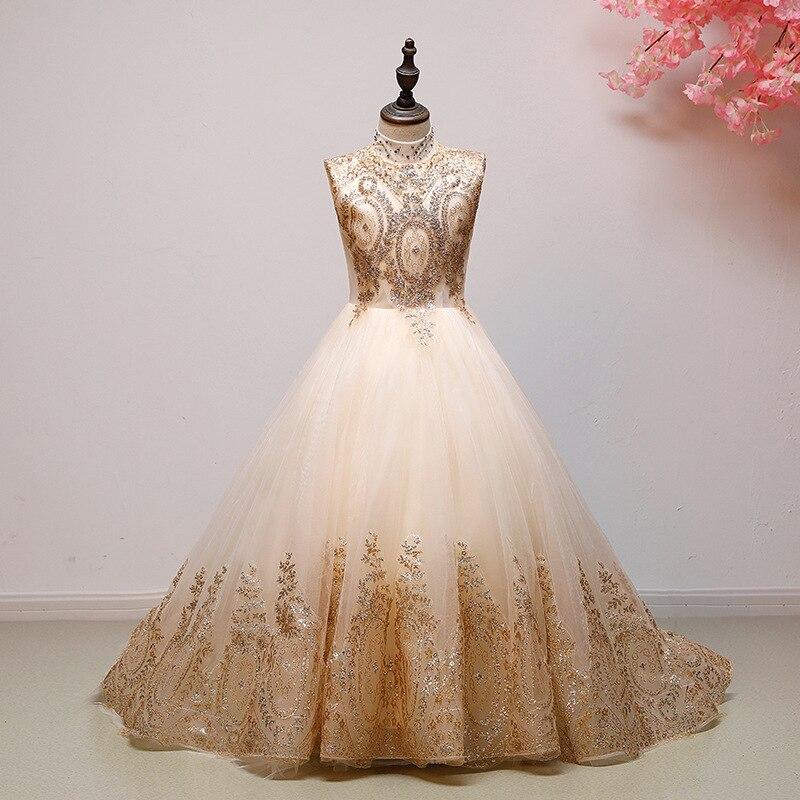 Fille Boutique robe de demoiselle d'honneur robes enfants tenue de fête de mariage robes adolescents demoiselle d'honneur robes de bal perles broderie Drese - 2