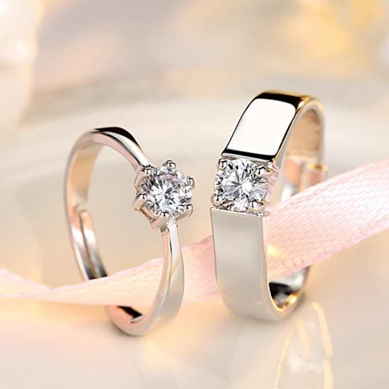 OMHXZJ סיטונאי אירופאי אופנה אישה איש מסיבת חתונה מתנה פשוט לבן אוהבי AAA זירקון 925 טבעת כסף סט RR239