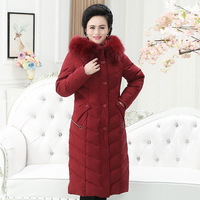 Long paragraph knee length large size down jacket middle aged mother clothes cold proof warm winter down coat