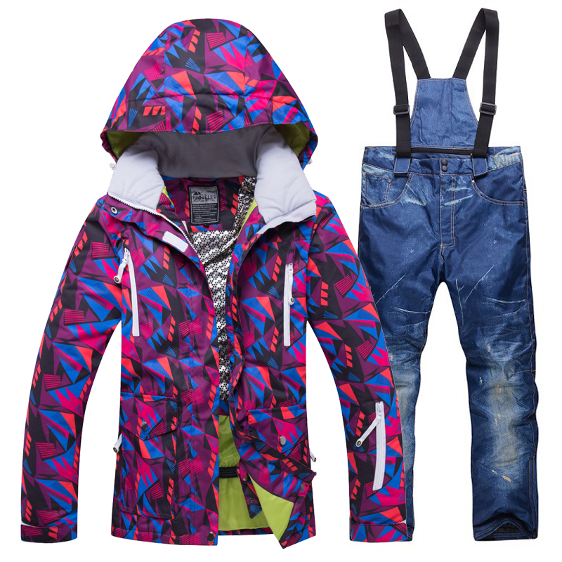 New Women Winter Outdoor Ski Suit Female Snow sports Ski Jacket+Pants Waterproof Breathable Snowboarding Suits climbing warm set womens white ski pants female black snowboarding riding snow pants outdoor colorful sports trousers waterproof breathable warm