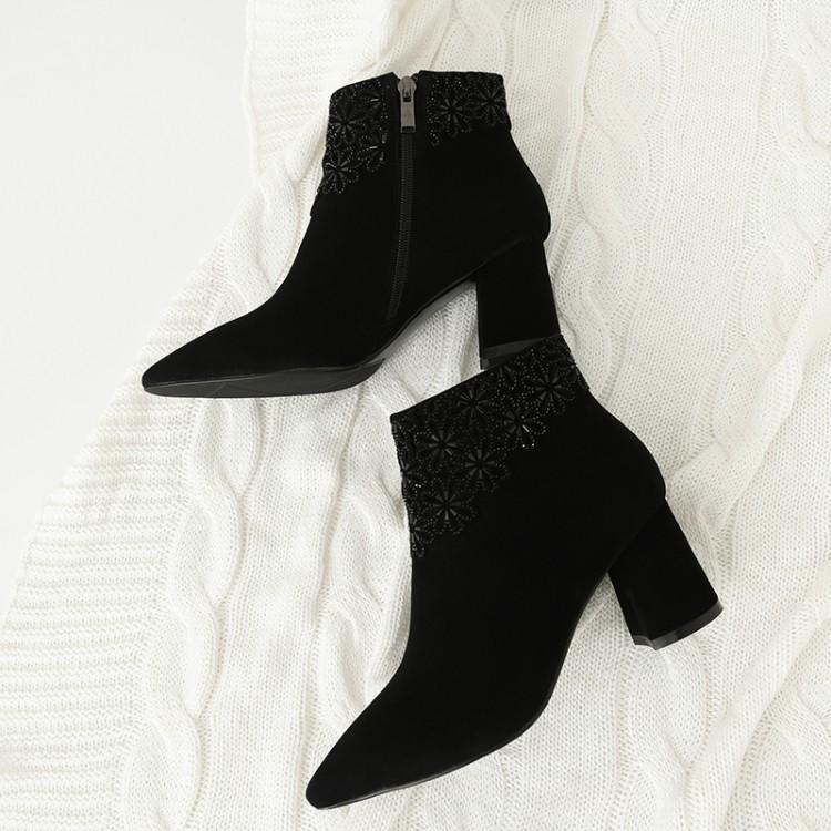 Chic De Bout Cristal gris Noir Femme Cheville Chaussures Pointu Daim Mujer Gris Talon Femmes Zapatos Chunky Noir Fleurs D'hiver Piste Bottes htrsQCd