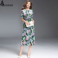 New High Street Dresses Autumn Winter 2017 Fashion Hydrangea Flower Long Classic Sexy Print Velvet Dress