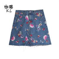 2017 Winter Spring Women Skirts Denim Jeans Mini Short Flower Rose Embroidery Pencil Sexy Fashion Female