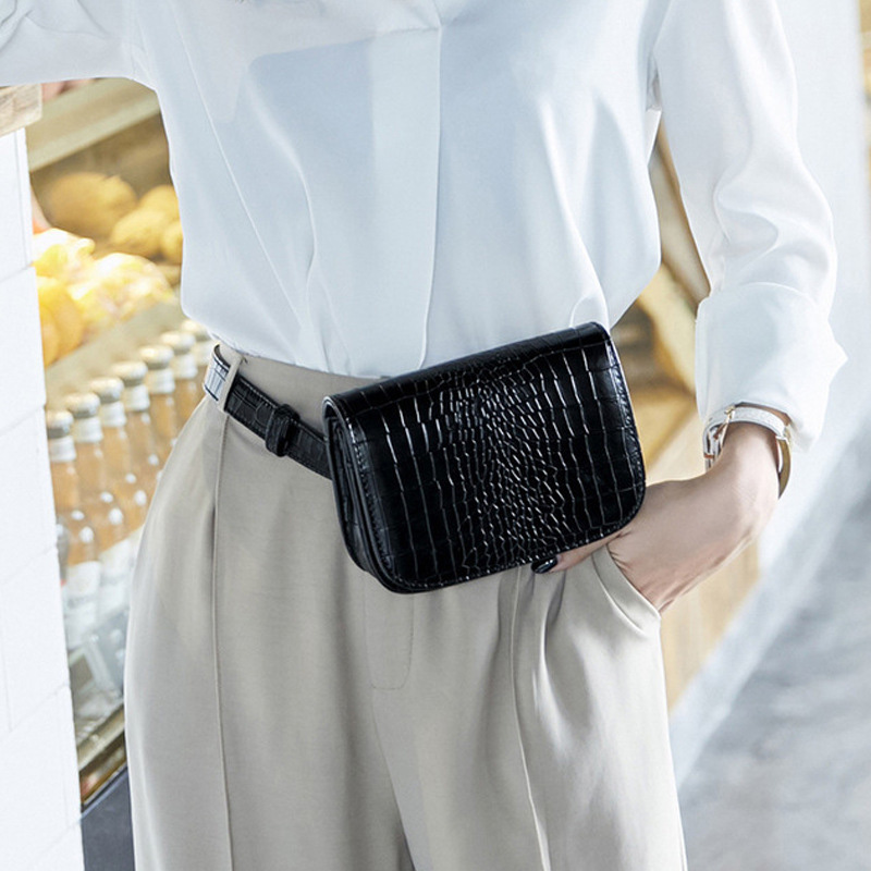 Fashion Women Waist Bags Luxury Leather Fanny Pack Alligator Waist Belt Pack Vintage Mini Black Chest Pouch Small Phone Bag