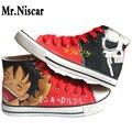 LEO Homens Japoneses Anime Pintados À Mão Sapatos Casuais Lona Sapatos One Piece Luffy Brook Anime Despicable Me Desenhos Animados Sapatos Baixos