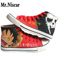 LEO Men Japanese Anime Canvas Shoes One Piece Luffy Brook Hand Painted Casual Shoes Anime Despicable Me Cartoon Flat Shoes