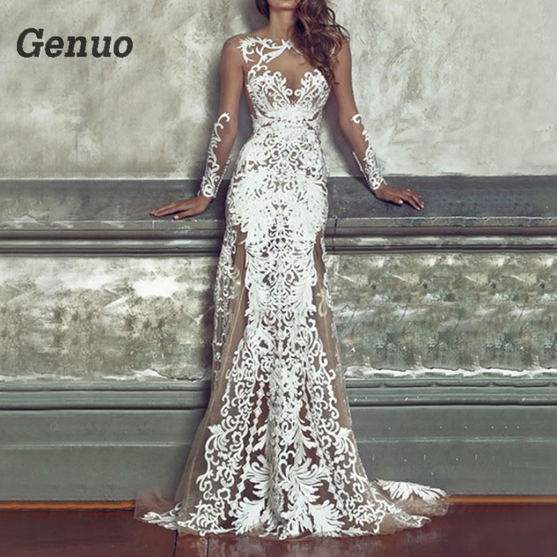 Genuo Women Luxurious Floral Party Dress Long White Lace Dresses Vintage Bodycon Sexy Maxi Dress Gorgeous
