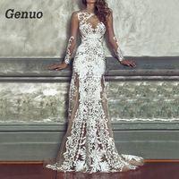 Genuo Women Luxurious Floral Party Dress Long White Lace Dresses Vintage Bodycon Sexy Maxi Dress Gorgeous Lady Dress