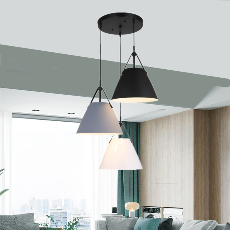 Vintage LED pendant light aluminium leather europe lamp modern Hanging sitting dining room bar coffee shop lighting fixture цена