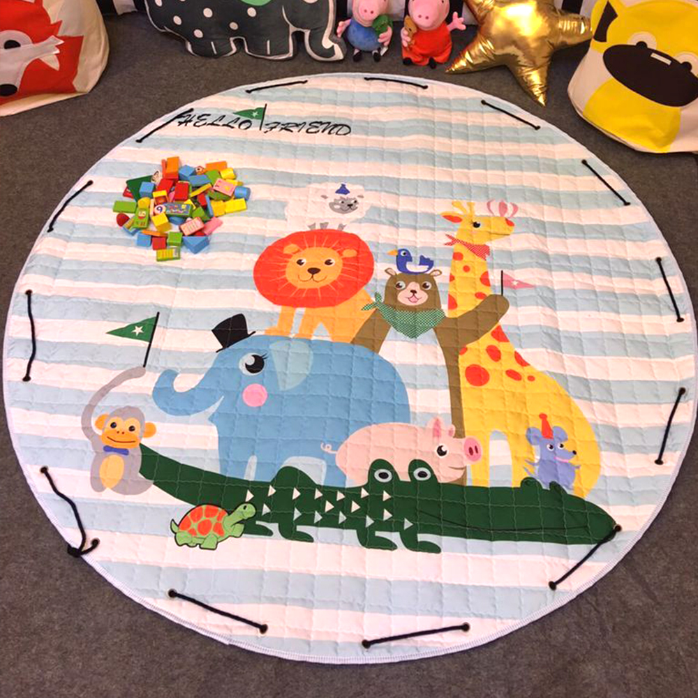 Animal Printed Round Kids Rug Toys Children's Carpet Baby Play Mat Cotton Developing Mat Rug Puzzle Play Mat Storage Bag Toys